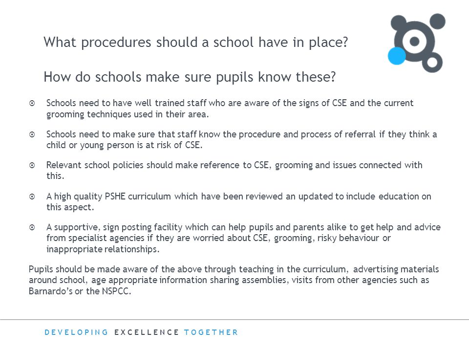 What procedures should a school have in place
