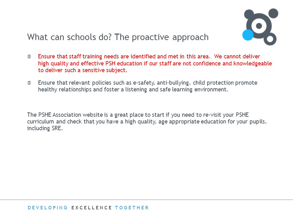 What can schools do The proactive approach
