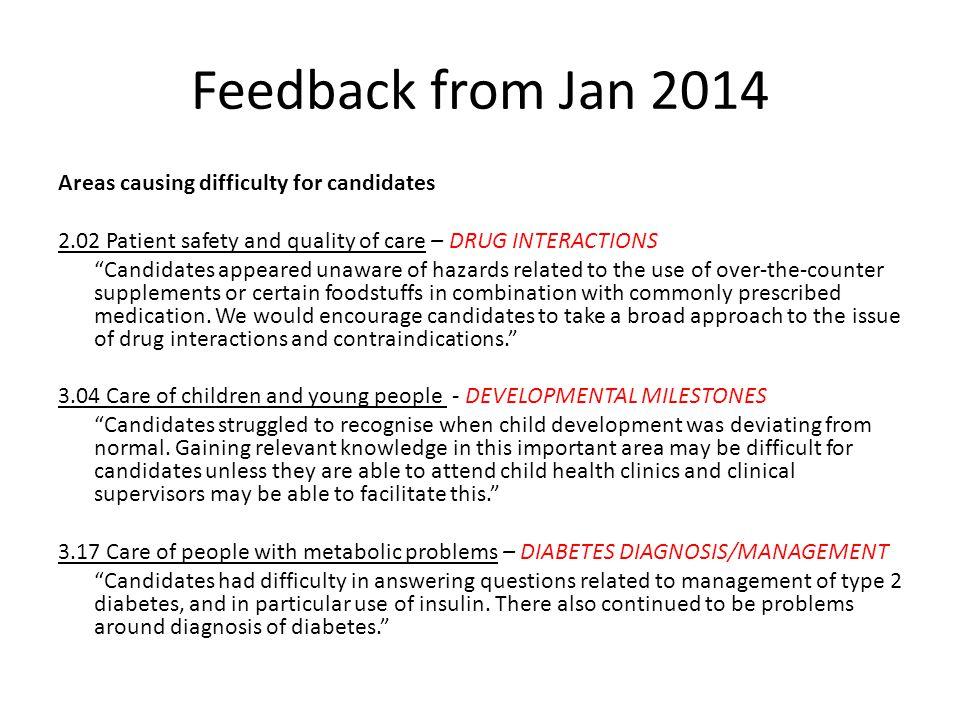 Feedback from Jan 2014