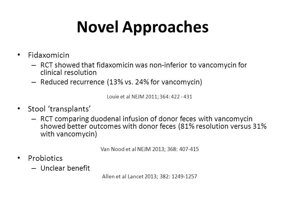 Novel Approaches Fidaxomicin Stool 'transplants' Probiotics