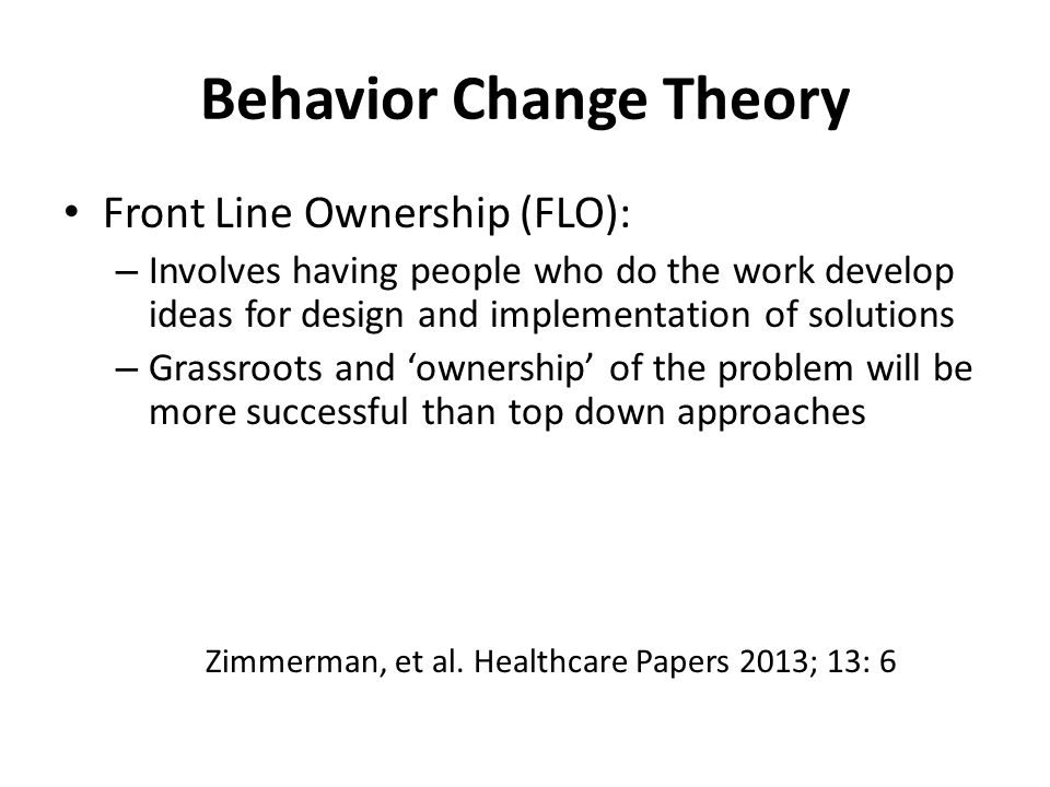 change theories implementation of change and