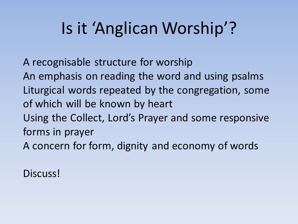Is it 'Anglican Worship'