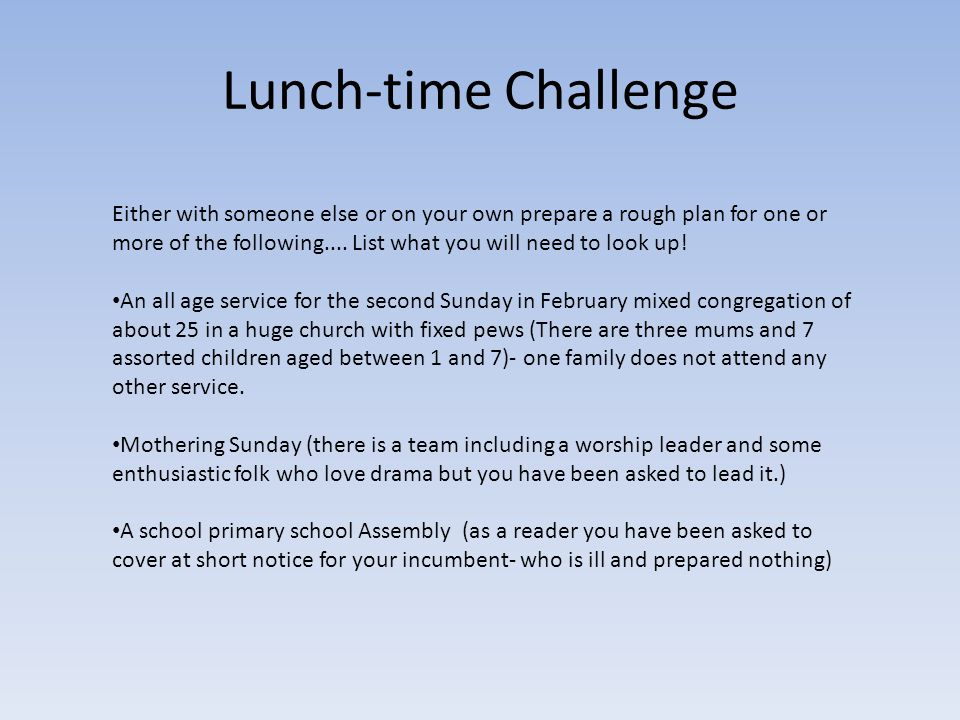 Lunch-time Challenge