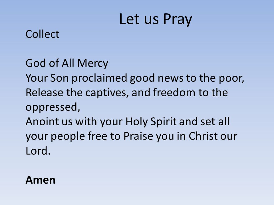 Let us Pray Collect God of All Mercy