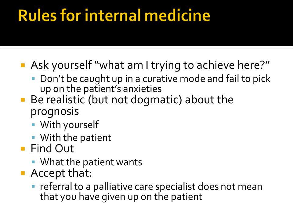 Rules for internal medicine