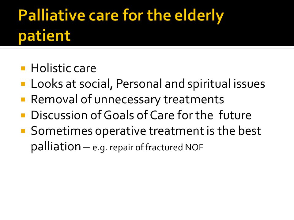 Palliative care for the elderly patient