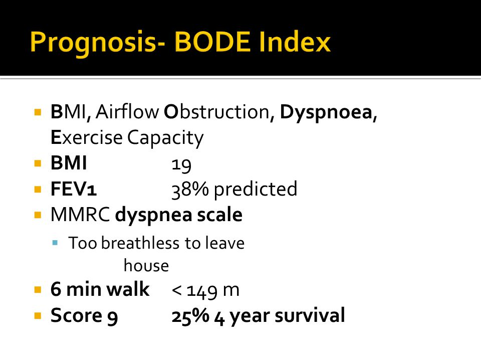 Prognosis- BODE Index BMI, Airflow Obstruction, Dyspnoea, Exercise Capacity. BMI 19. FEV1 38% predicted.