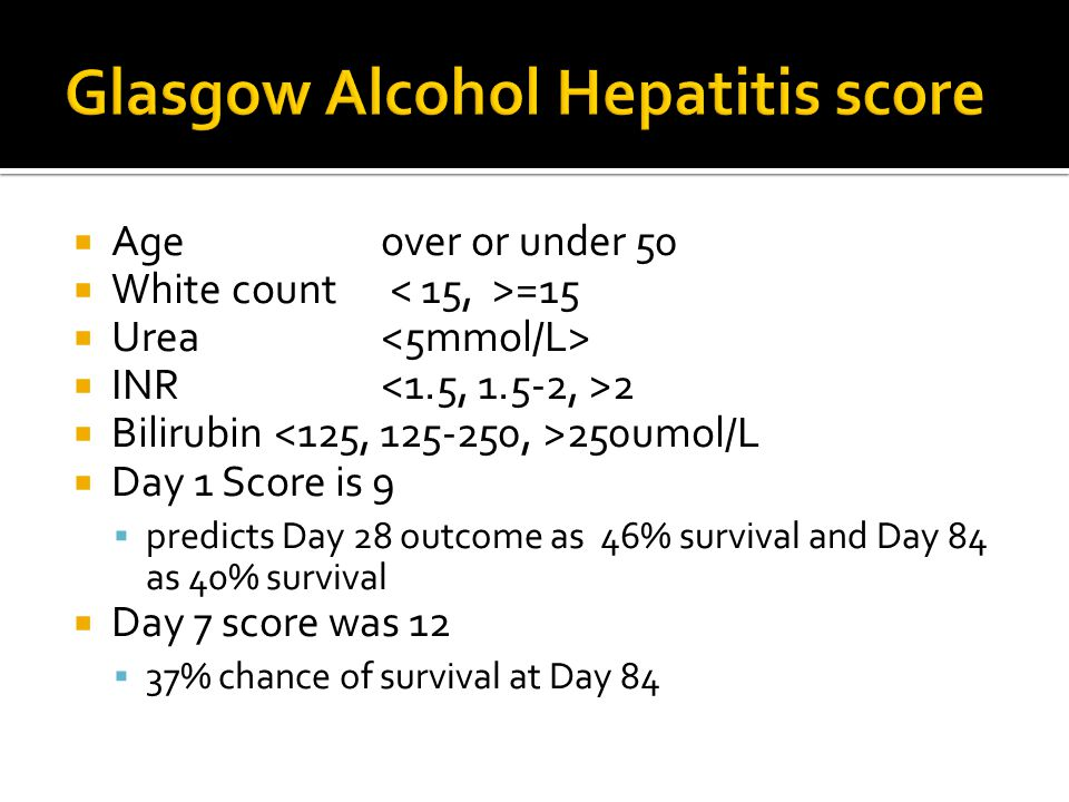 Glasgow Alcohol Hepatitis score