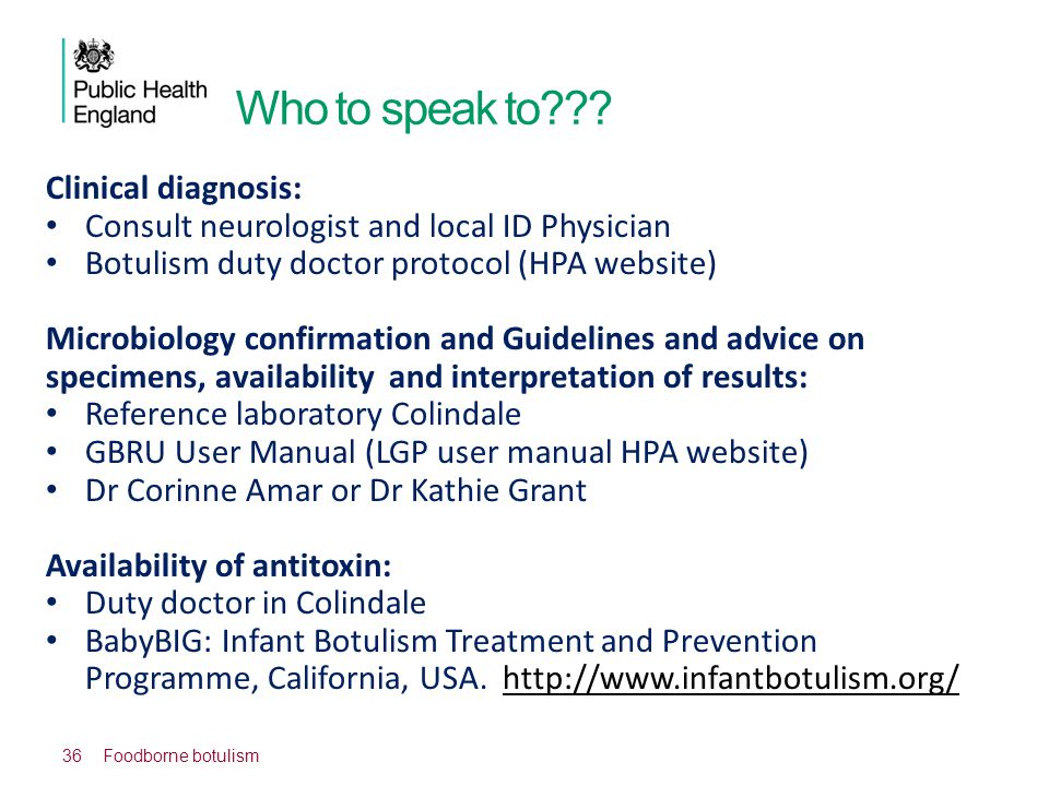 Who to speak to Clinical diagnosis:
