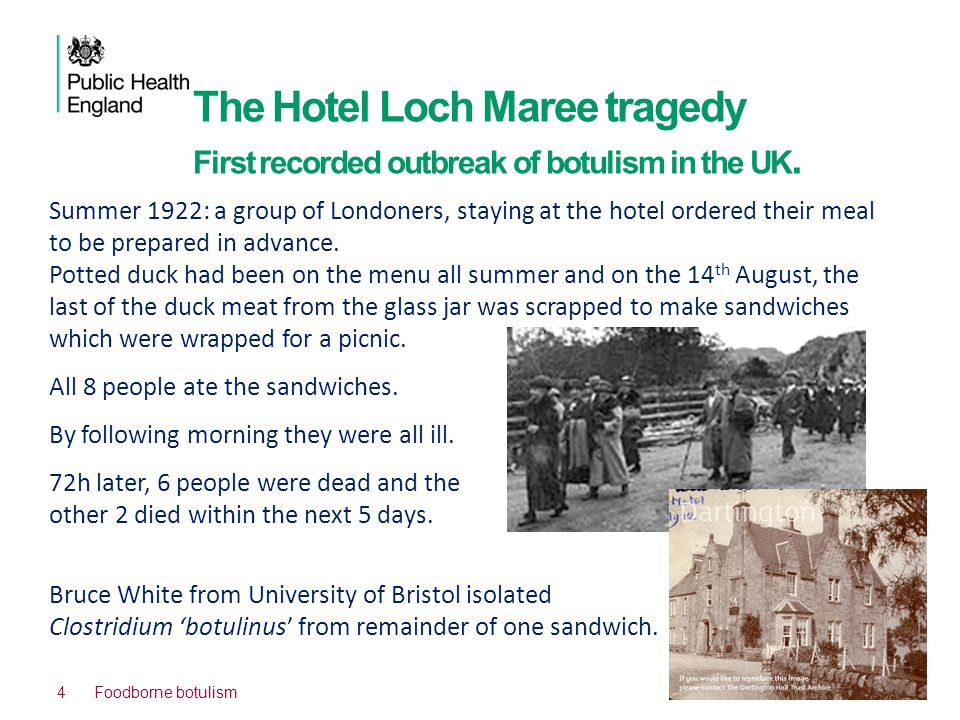 The Hotel Loch Maree tragedy First recorded outbreak of botulism in the UK.