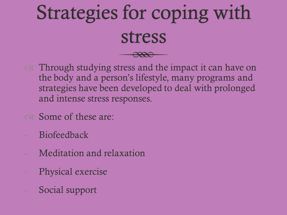 Strategies for coping with stress