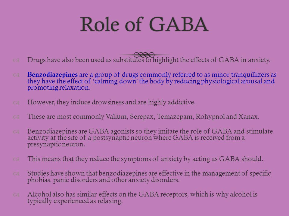Role of GABA Drugs have also been used as substitutes to highlight the effects of GABA in anxiety.