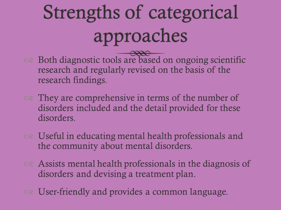 Strengths of categorical approaches