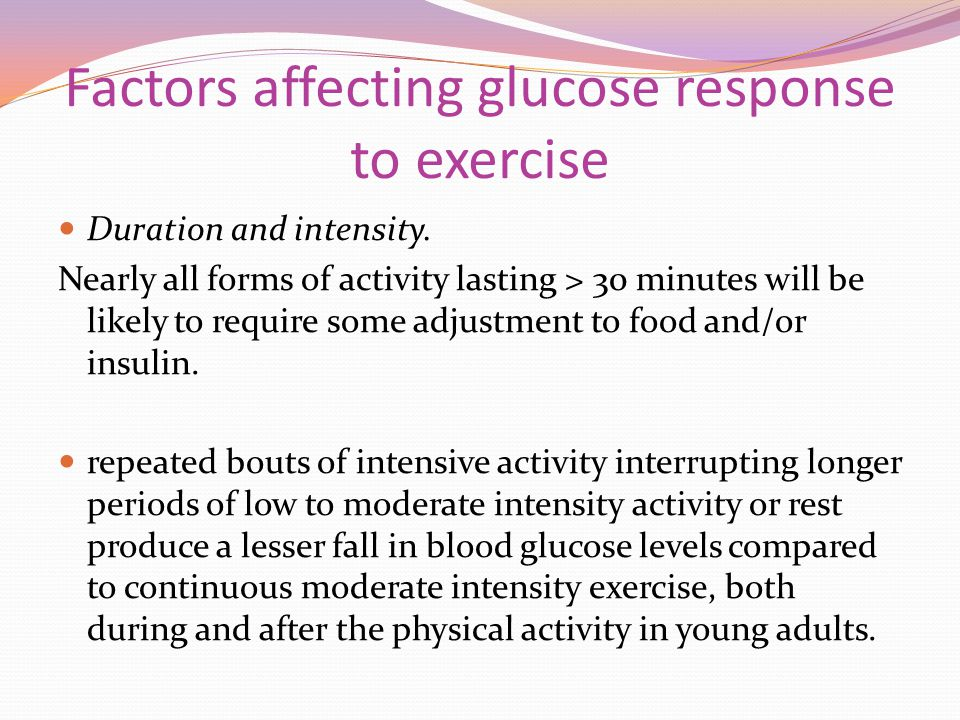 Factors affecting glucose response to exercise