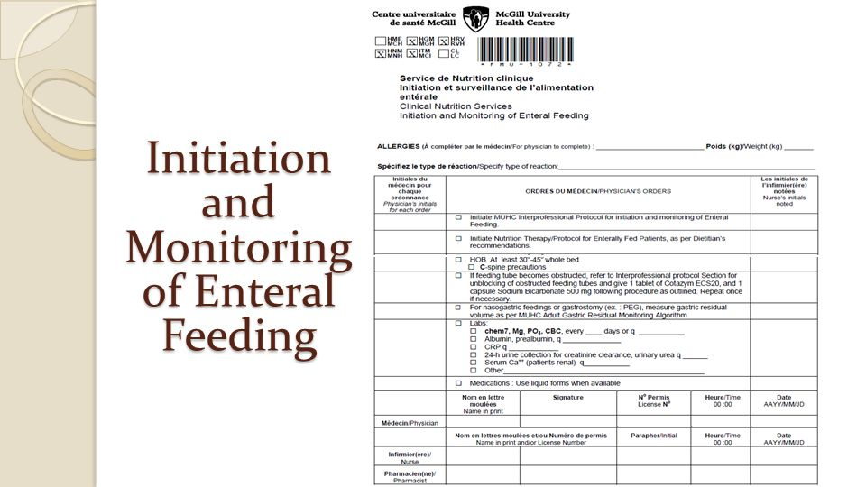 Initiation and Monitoring of Enteral Feeding