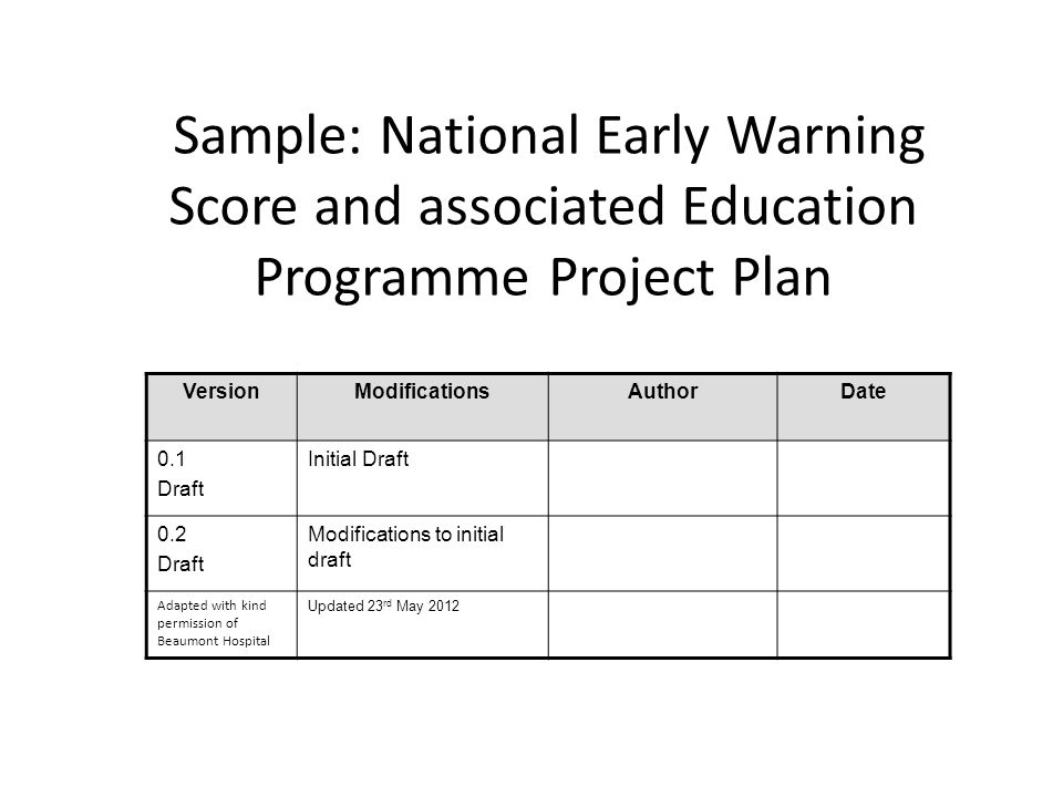 Sample: National Early Warning Score and associated Education Programme Project Plan