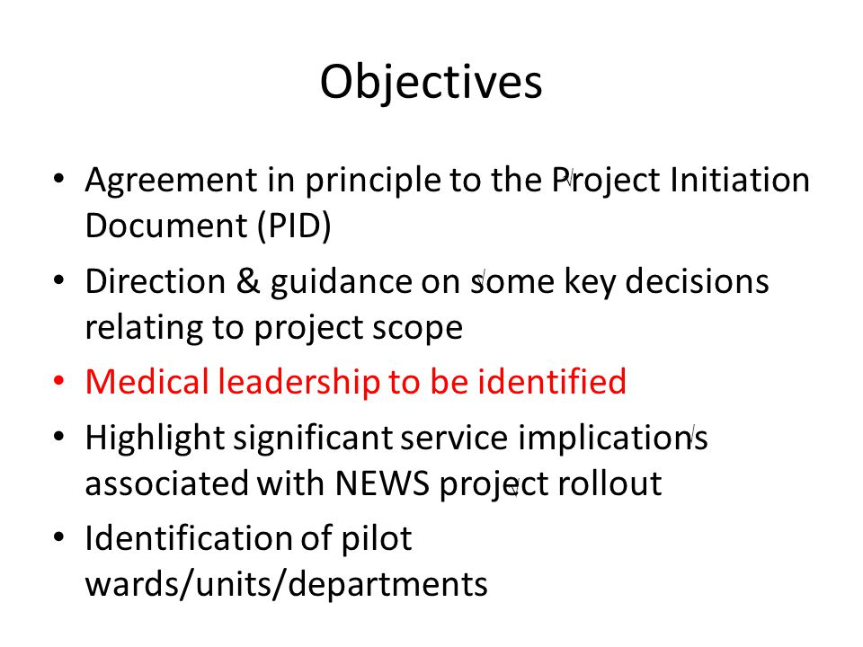 Objectives Agreement in principle to the Project Initiation Document (PID) Direction & guidance on some key decisions relating to project scope.