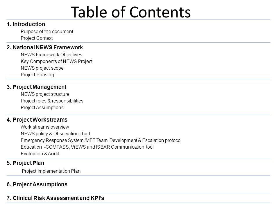 Table of Contents 1. Introduction 2. National NEWS Framework