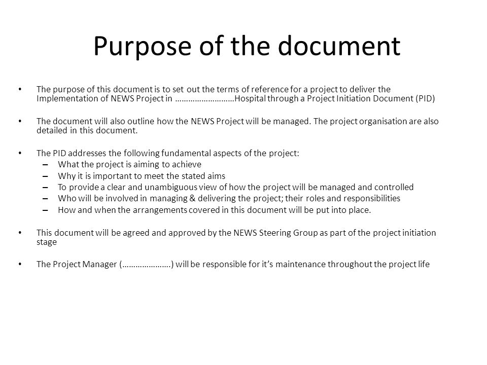 Purpose of the document