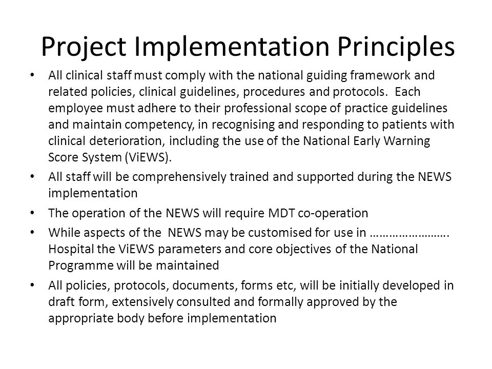 Project Implementation Principles