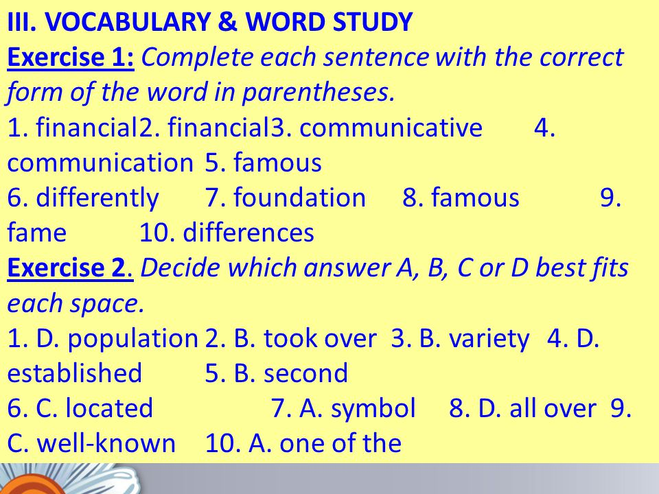 III. VOCABULARY & WORD STUDY