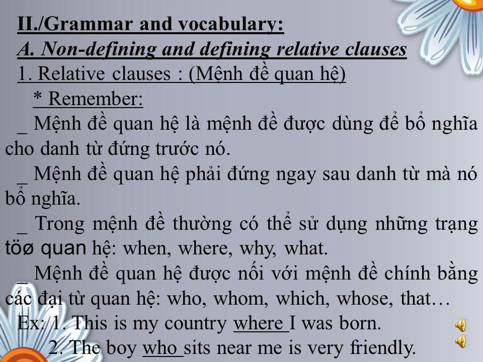 II./Grammar and vocabulary: