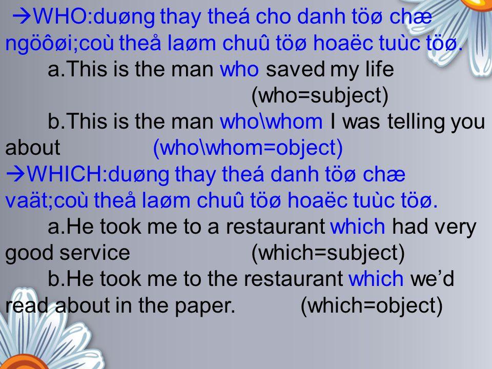 WHO:duøng thay theá cho danh töø chæ ngöôøi;coù theå laøm chuû töø hoaëc tuùc töø.