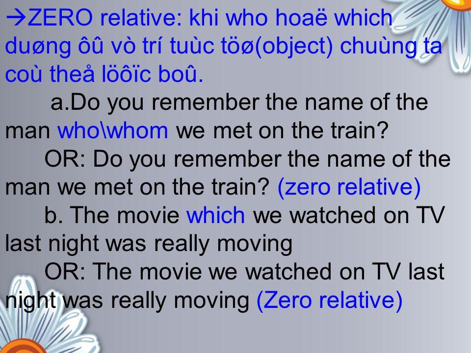 ZERO relative: khi who hoaë which duøng ôû vò trí tuùc töø(object) chuùng ta coù theå löôïc boû.