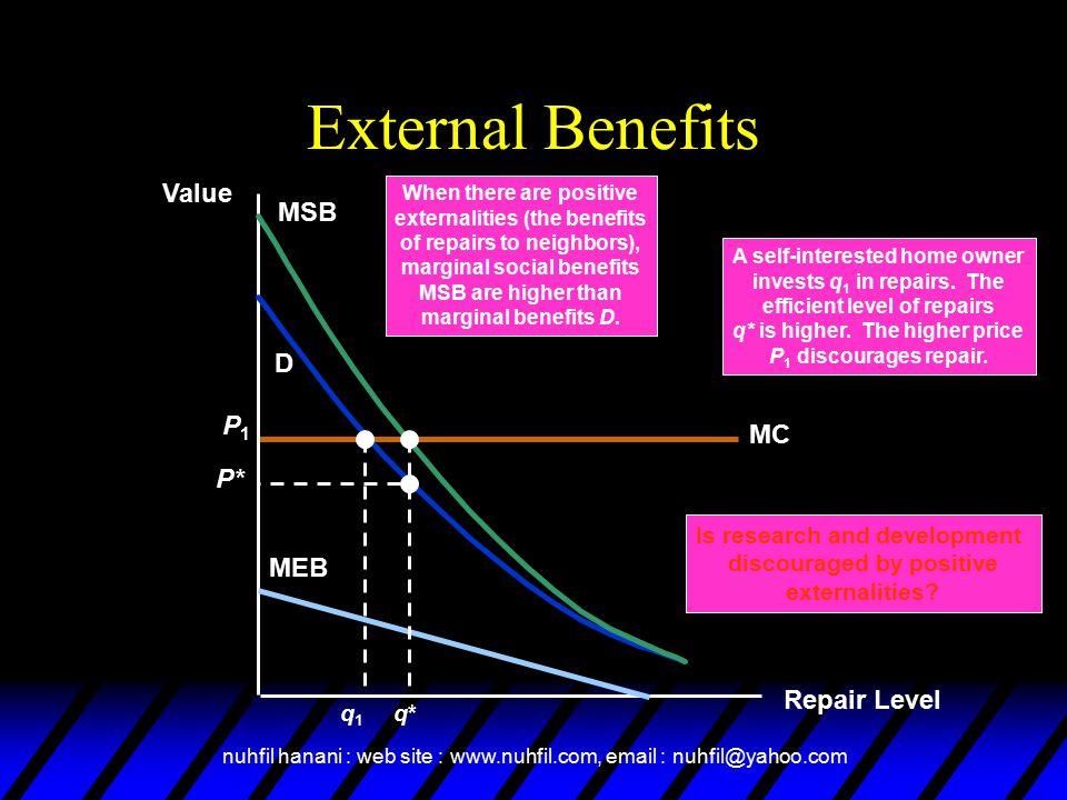 External Benefits Value MSB D P1 MC P* MEB Repair Level q* q1