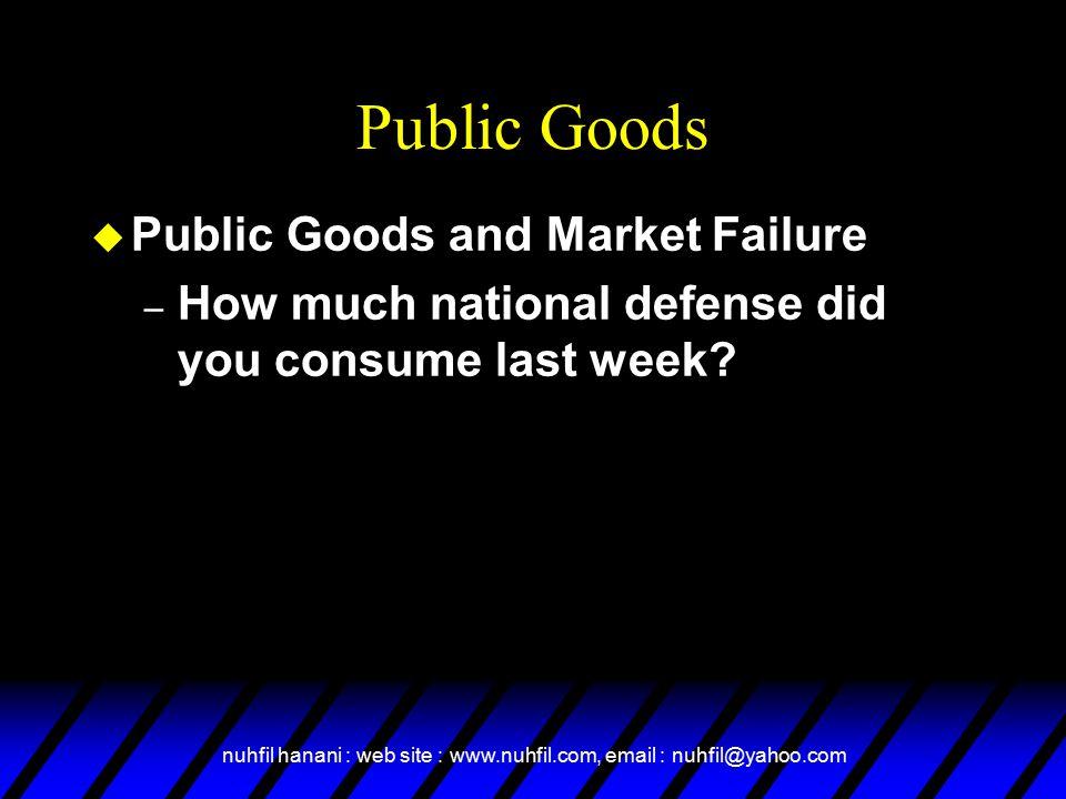Public Goods Public Goods and Market Failure