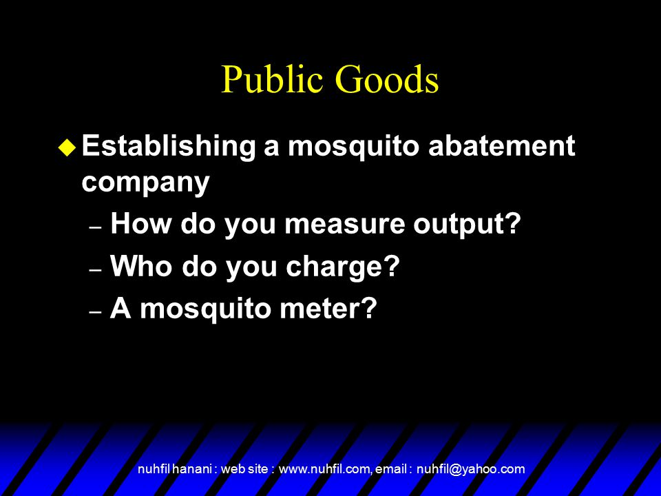 Public Goods Establishing a mosquito abatement company