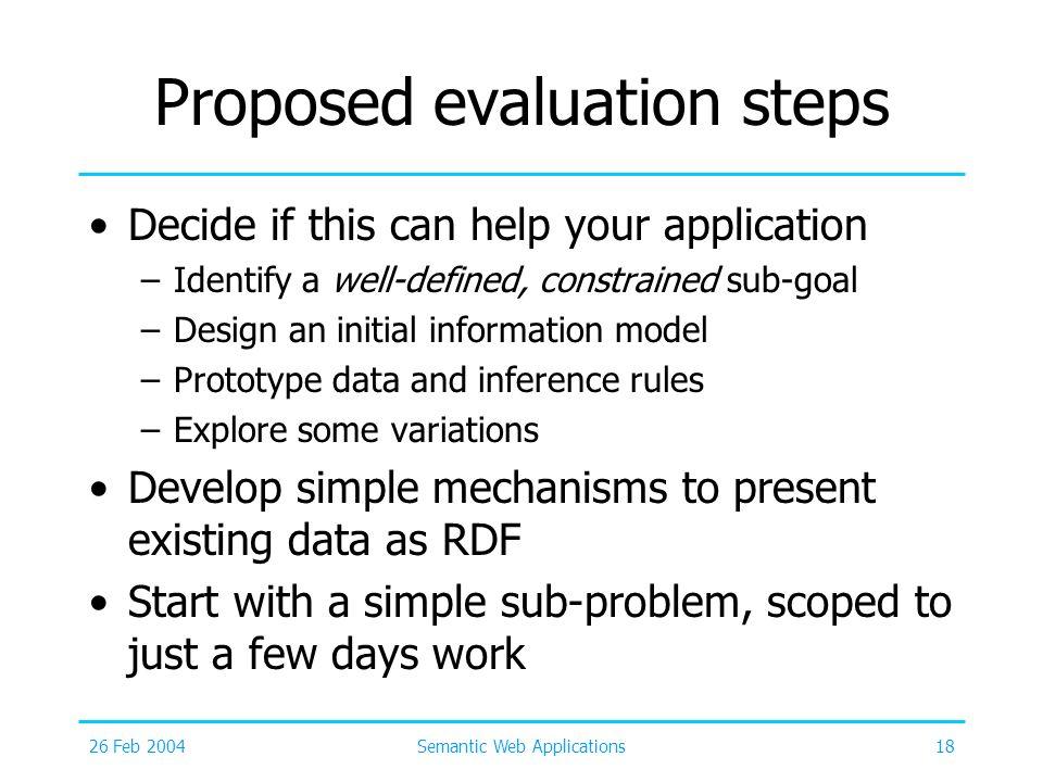 Proposed evaluation steps