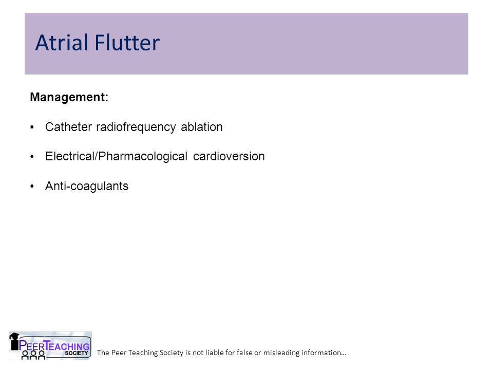 Atrial Flutter Management: Catheter radiofrequency ablation