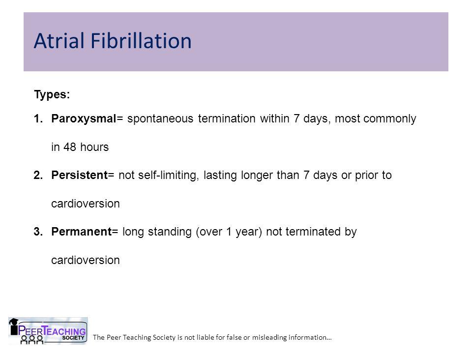 Atrial Fibrillation Types: