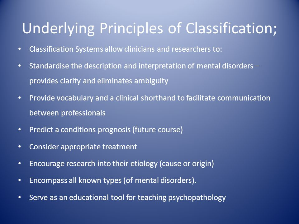 Underlying Principles of Classification;