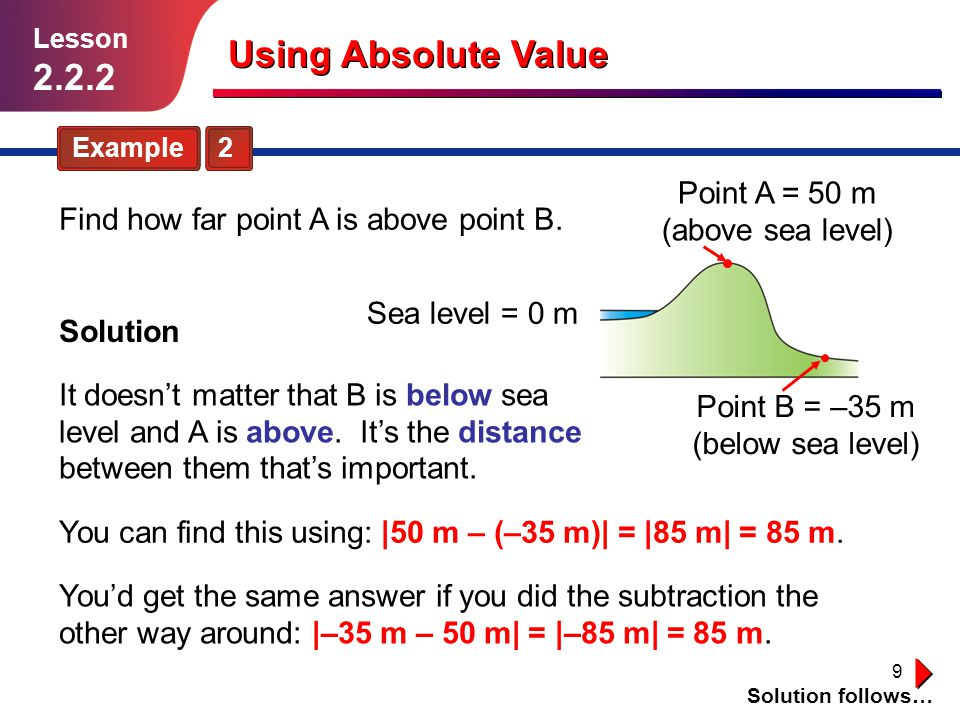 Using Absolute Value 2.2.2 Point A = 50 m (above sea level)
