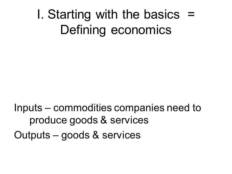 I. Starting with the basics = Defining economics