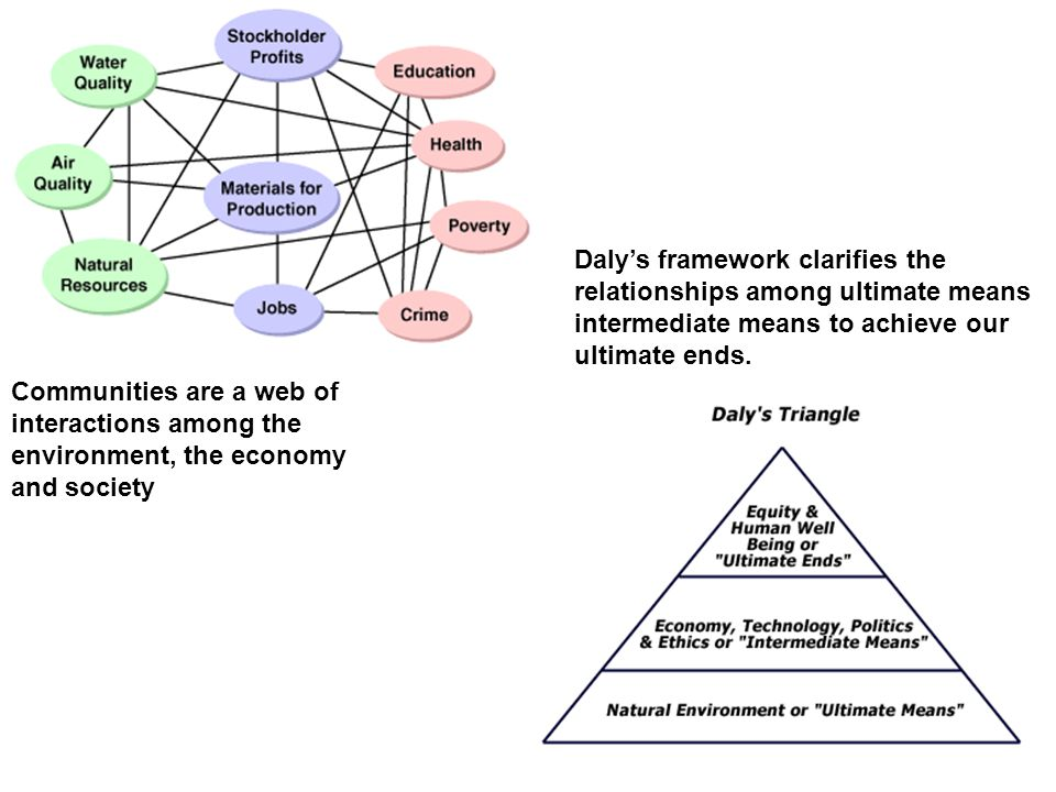 Daly's framework clarifies the relationships among ultimate means intermediate means to achieve our ultimate ends.