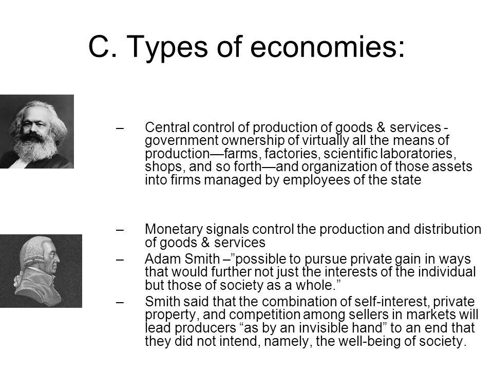 C. Types of economies: