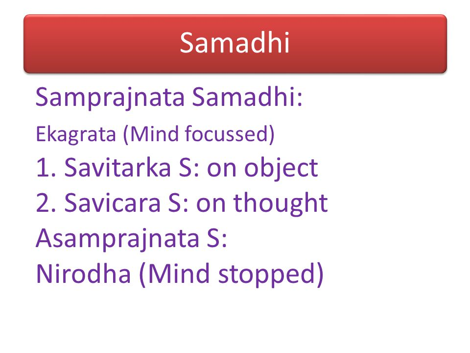 Samadhi Samprajnata Samadhi: 1. Savitarka S: on object