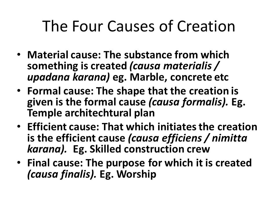 The Four Causes of Creation