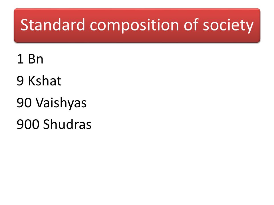 Standard composition of society