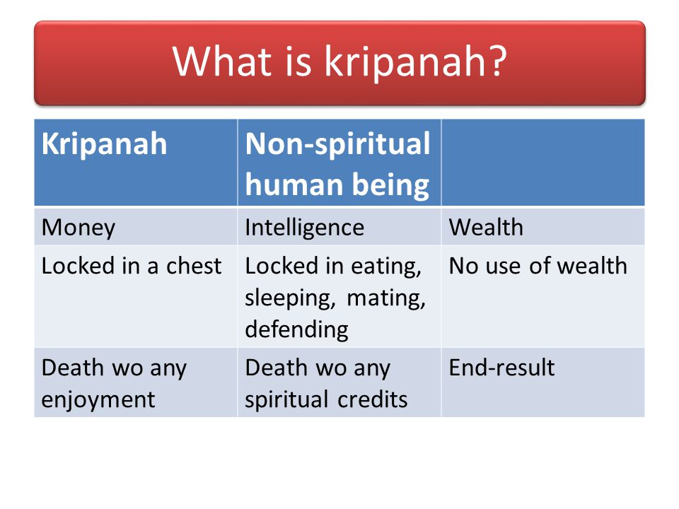 What is kripanah Kripanah Non-spiritual human being Money