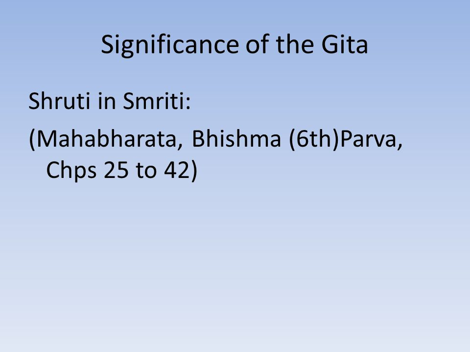 Significance of the Gita