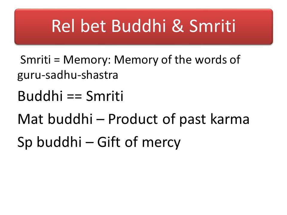 Rel bet Buddhi & Smriti Buddhi == Smriti