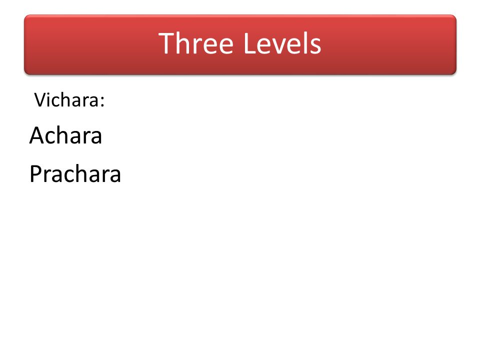 Three Levels Vichara: Achara Prachara