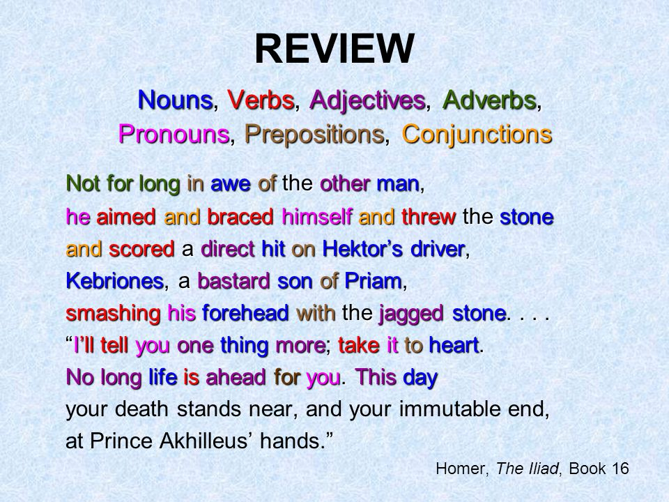 REVIEW Nouns, Verbs, Adjectives, Adverbs, Pronouns, Prepositions, Conjunctions