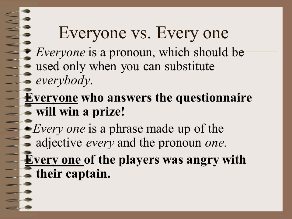 Everyone vs. Every one Everyone is a pronoun, which should be used only when you can substitute everybody.