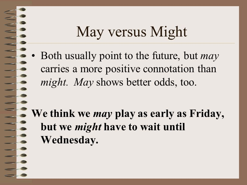 May versus Might Both usually point to the future, but may carries a more positive connotation than might. May shows better odds, too.