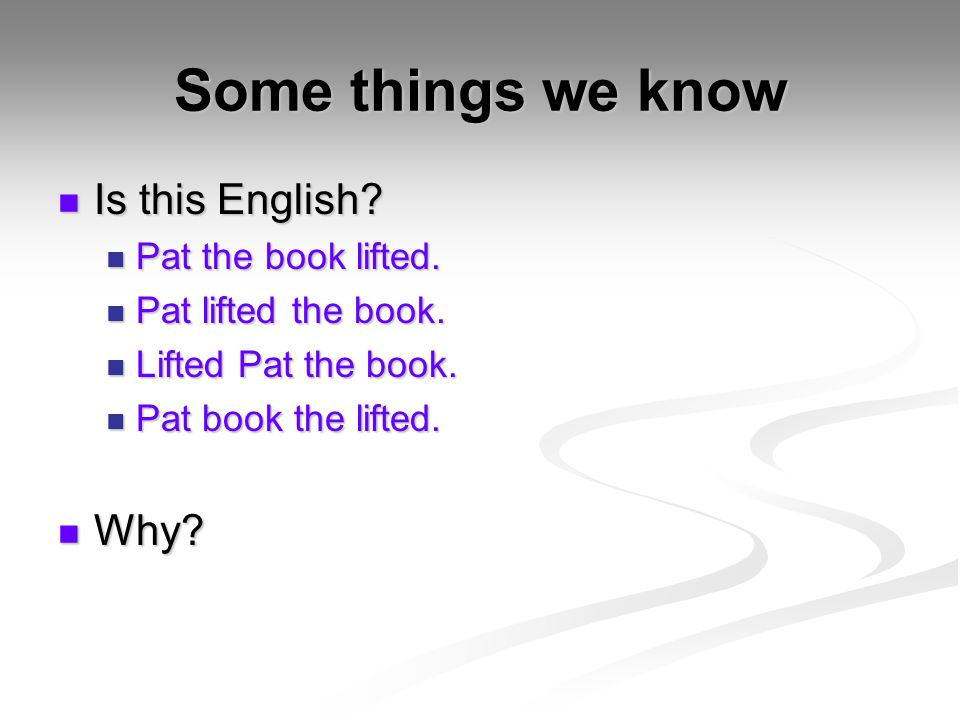 Some things we know Is this English Why Pat the book lifted.